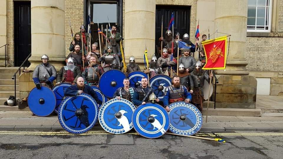 Members of Sedley Viking Combat/Reenactment Group, Hrafn Vaeringi